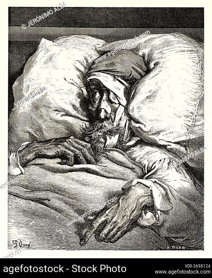 Don Quixote sick in bed. Don Quixote by Miguel de Cervantes Saavedra. Old XIX century engraving illustration by Gustave Dore