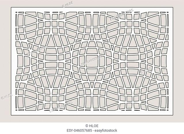 Decorative card for cutting laser or plotter. Linear geometric pattern panel. Laser cut. Ratio 2:3. Vector illustration
