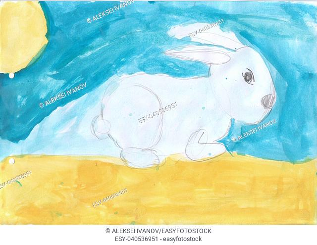Children's drawing - a bunny on a clearing