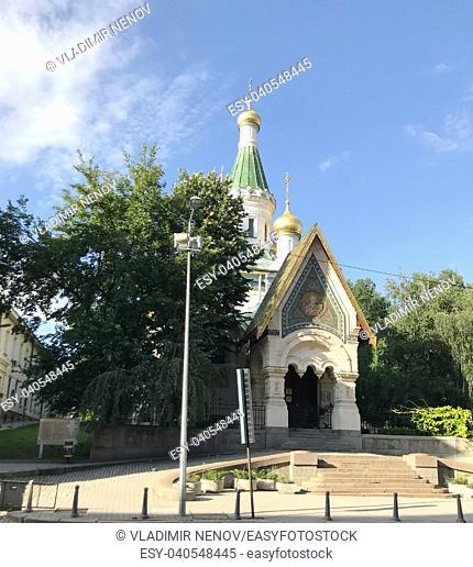 SOFIA, BULGARIA - JULY 01, 2018: The Russian Church is a Russian Orthodox church in central Sofia, Bulgaria, situated on Tsar Osvoboditel Boulevard
