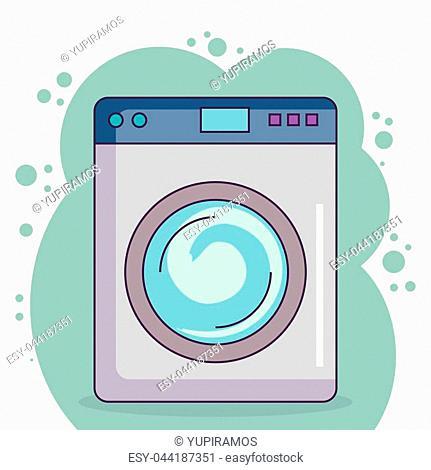 wash machine laundry service vector illustration design