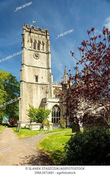 Spring day at St Peter and Paul church in Northleach, a small town in the Cotswolds, Gloucestershire, England