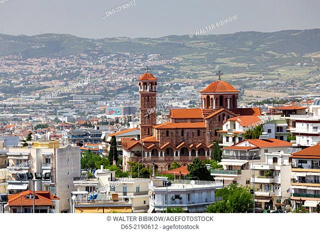 Greece, Central Macedonia Region, Thessaloniki, elevated city view from the Upper Town and the Agios Dimitrios church
