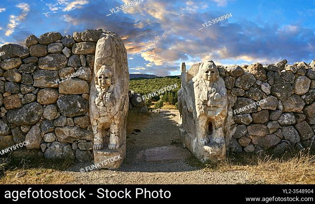Picture & image of Hittite Sphinx sculpture of the Sphinx Gate. Hattusa (also Ḫattuša or Hattusas) late Anatolian Bronze Age capital of the Hittite Empire