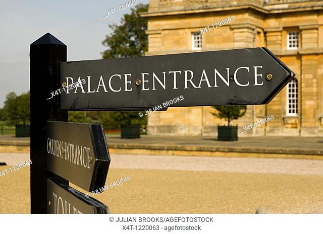 Sign saying Palace Entrance at Blenheim Palace Oxfordshire