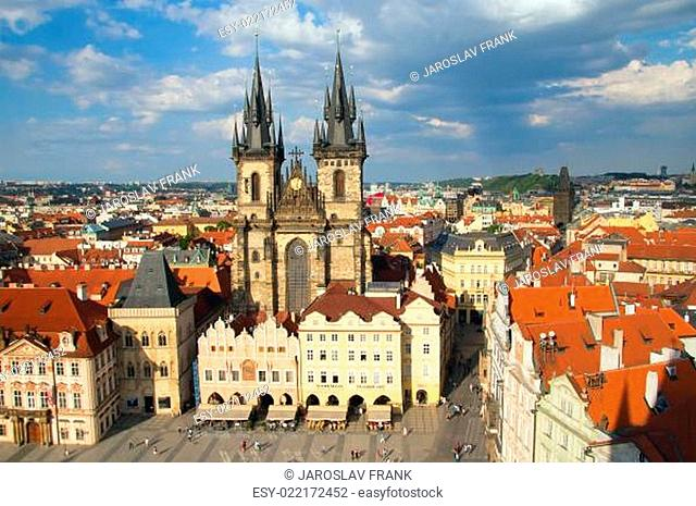 Old town square with Tyn Church (Prague)