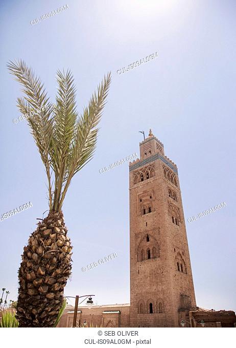 Minaret Koutoubia Mosque, off Jamaa el Fna Square, Marrakech, Morocco