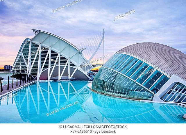 The Hemisferic,Museu de les Ciencies Principe Felipe and El Pont de l'Assut de l'Or, in City of Arts and Sciences. Valencia, Spain