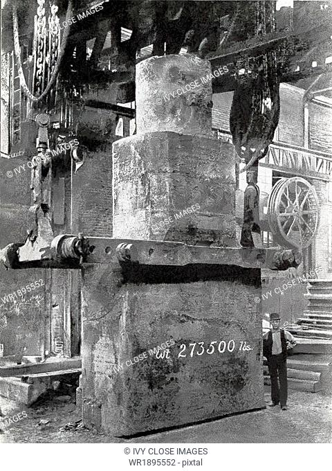 This 1901 photo show a nickel steel armor plate ingot cast for the port plate of U.S. battle ship Iowa. Noted on the ingot is its weight: 273,500 lbs