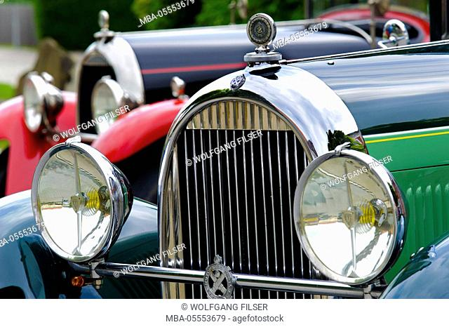Old-timer rally 'Herkomer contention' in Landsberg in Lech for at least 80 year-old cars, here close Hotchkiss, year of manufacture in 1930