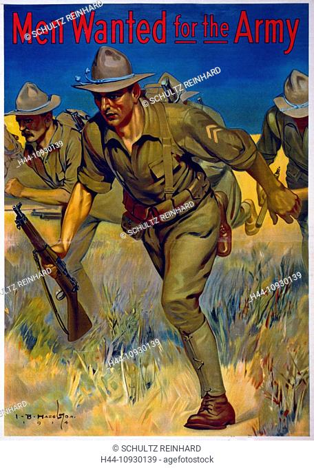 USA, World War I, American, recruitment, poster, soldiers, guns, running, field, Army, USA, 1914