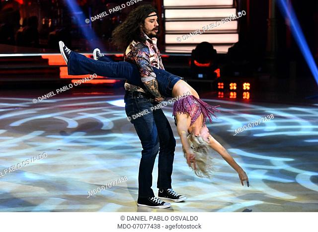 Former Argentinian footballer Daniel Pablo Osvaldo with his dance teacher Veera Kinnunen during the fourth episode of the show Ballando Con Le Stelle auditorium...