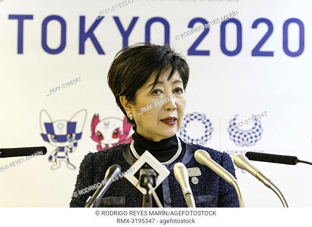 December 7, 2018, Tokyo, Japan - Tokyo Governor Yuriko Koike speaks during her regular press conference at the Tokyo Metropolitan Government building