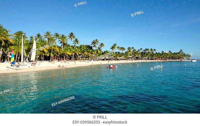 idyllic coastal beach scenery on a caribbean island named Guadeloupe