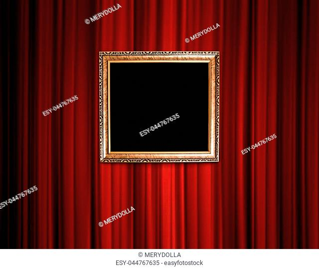 red theatre curtain with old vintage frame