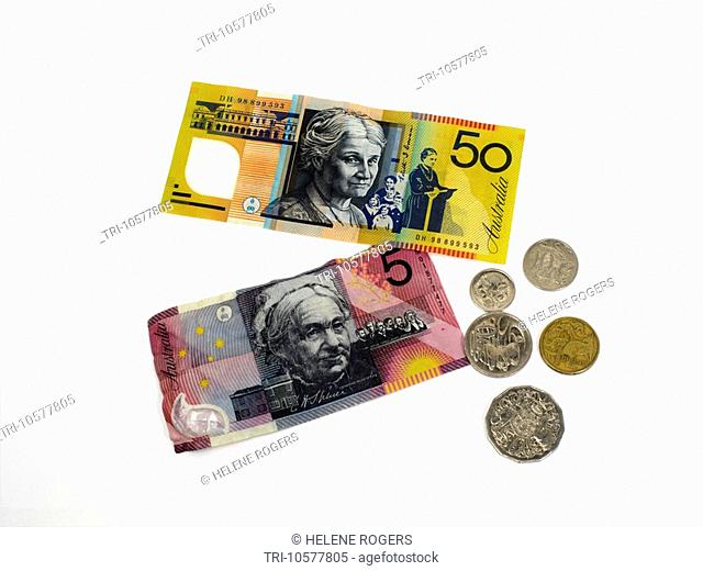 Australian Dollars Notes and Coins Fifty Dollar and Five Dollar Bill One Dollar Coin Fifty Cents Twenty Cents Ten Cents and Five Cents Reverse