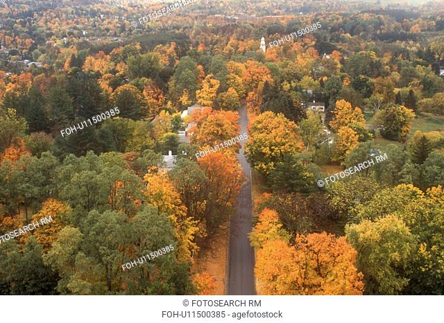 aerial, fall, Bennington, VT, Vermont, An aerial view of the town of Bennington surrounded by colorful foliage in autumn from the Bennington Battle Monument