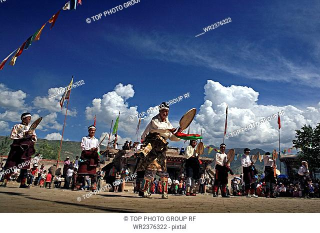 Tibetan performances June Festival Tongren County Qinghai Province China