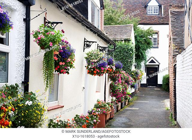 Hanging Baskets in an Alleyway Bridgnorth Shropshire England