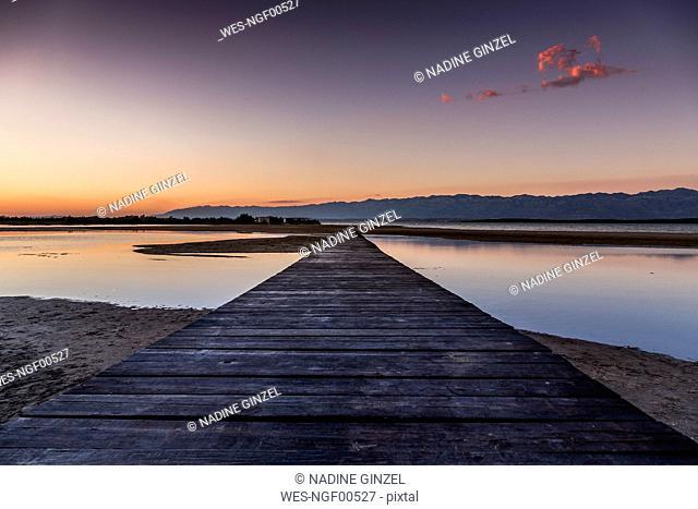 Croatia, Empty boardwalk at Ninska Laguna Beach