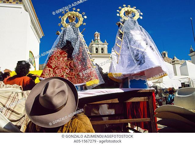 Festival of the Virgin of Copacabana (5 and 6 August), offerings to Pachamama in Mount Calvario, Copacabana, La Paz Department, Bolivia