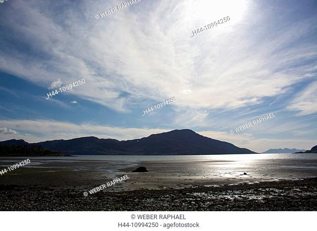 Scotland, Great Britain, west coast, Inverie, bay, beach, seashore, Loch Nevis, spring