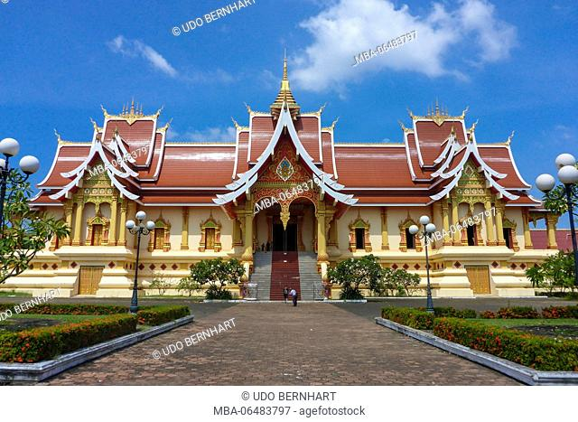 Asia, Laos, landlocked country, South-East Asia, Indo-Chinese peninsula, Vientiane, temple complex of Pha That Luang