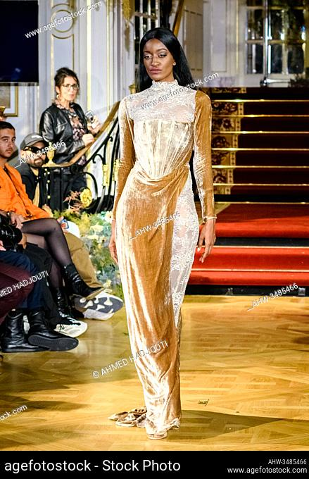 PARIS, FRANCE - FEBRUARY 29: A model walks the runway during the Fashion Week Studio show wearing the designs of Festim Isufi as part of Paris Fashion Week on...