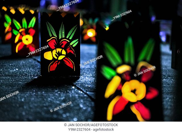 Colorful paper lanterns, depicting flower blossoms, illuminate the street during the annual Festival of Candles and Lanterns in Quimbaya, Colombia