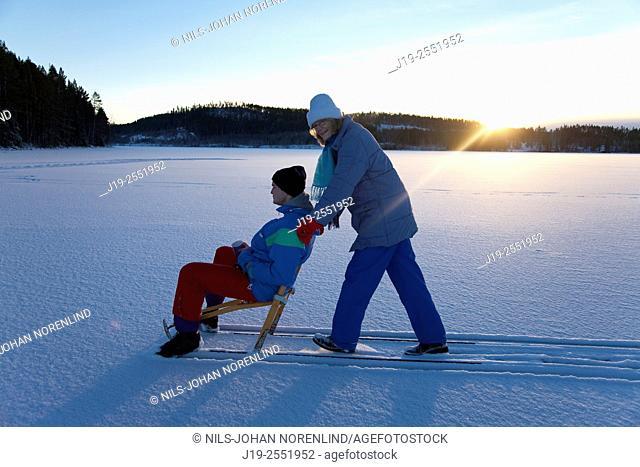 "Winter picknick on lake, """"kick""""Jämtland Northern Sweden"