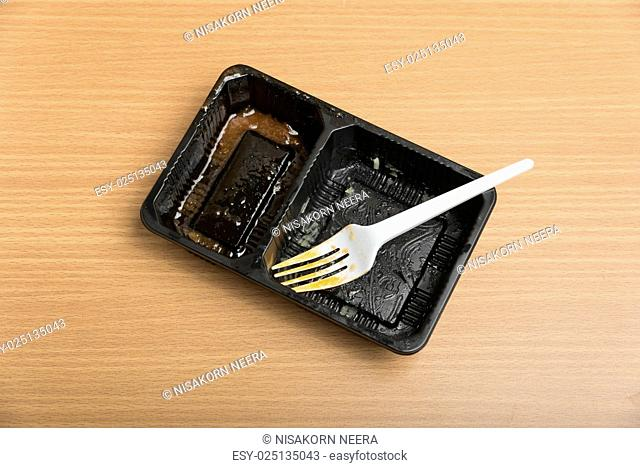 dirty plastic food container