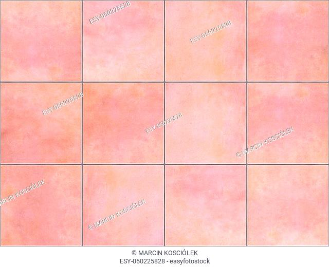 Seamless background or texture made of pink floor tiles