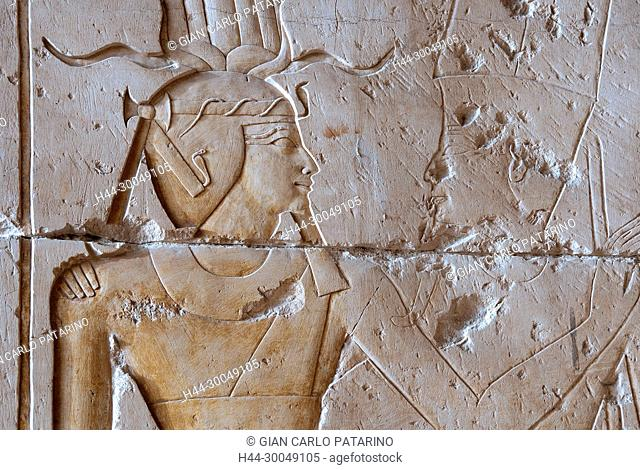 Abydos, Egypt, the mortuary temple of pharaoh Seti I, Menmaatra, (XIX° dyn. 1321-1186 B.C.) - A carved pillar wIth the deified king