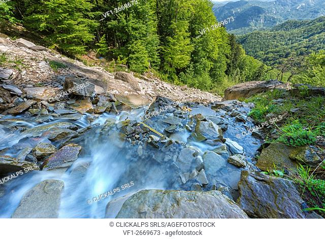 Waterfall, Sasso Fratino Natural Integral Reserve, Emilia Romagna district, Italy