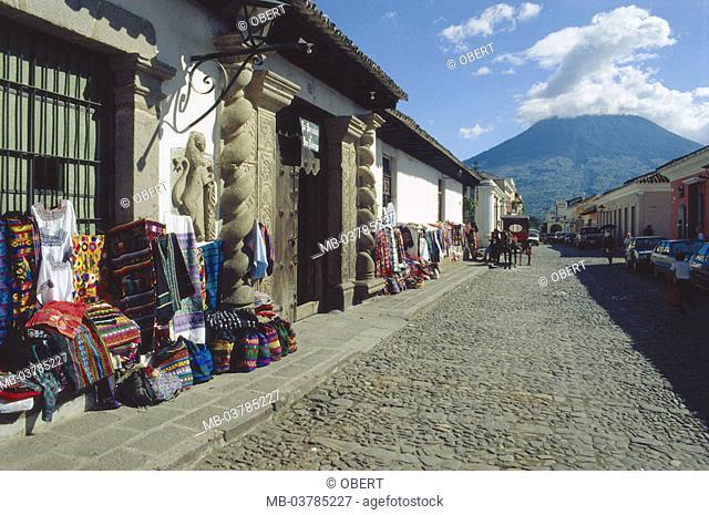 Guatemala, Antigua de Guatemala, Alley, shops, sale,  Souvenirs Latin America, Central America, central America, street, cobblestones, houses