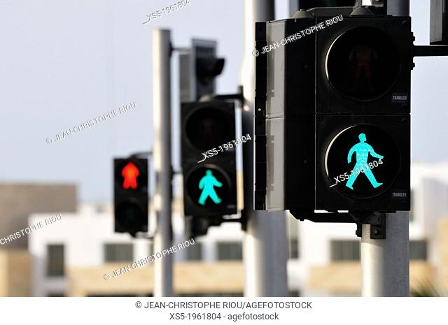 walking sign, Rabat, Morocco