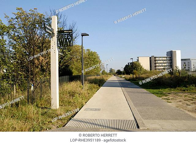 England, London, Hackney Wick. Signpost on the Greenway, a footpath and cycleway in East London running between Wick Lane in Bow to Royal Docks Road in Beckton