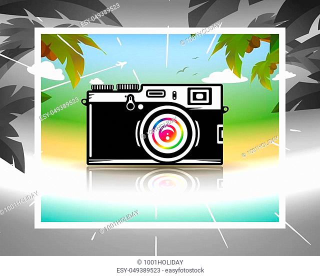Dream about summer vacations, photo camera on beach, vector illustration for Your design, eps10