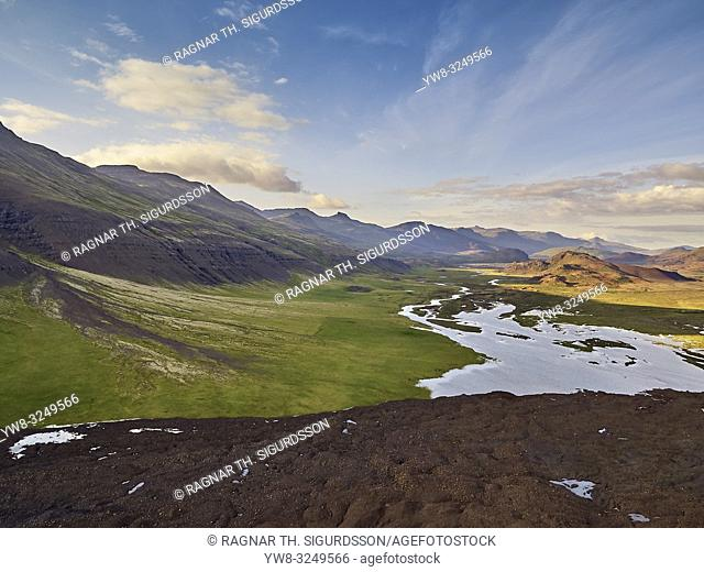 Enormous landslide on Fagraskogarfjall mountain in Hitardalur, Western, Iceland