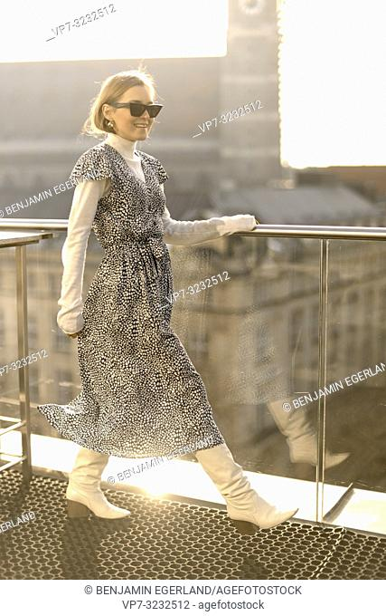 fashionable blogger woman, in Munich, Bavaria, Germany