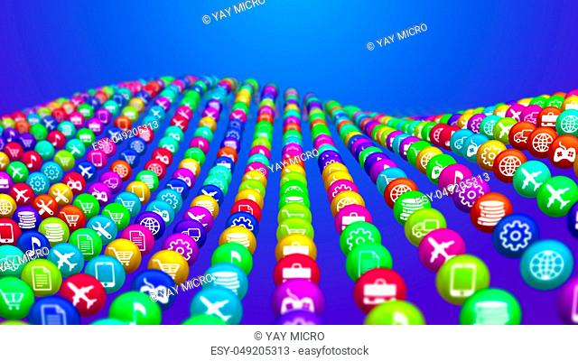 3d illustration of colorful social mass media balls placed in rows in the blue background. They illustrate various social services, including flight, music