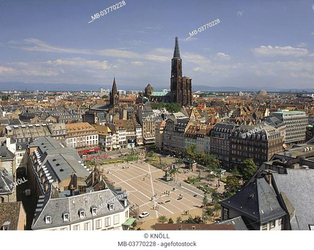 France, Strasbourg, view at the city,  Minsters, glue place,  Europe, Département Bas-Rhin, Alsace, Strasbourg, city, city center, old town