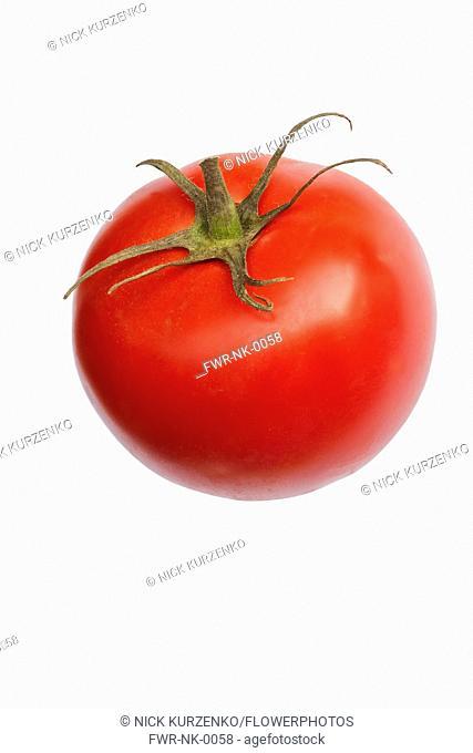 Tomato, Beef tomato, Lycopersicon cultivar, Studio shot of red fruit against white background