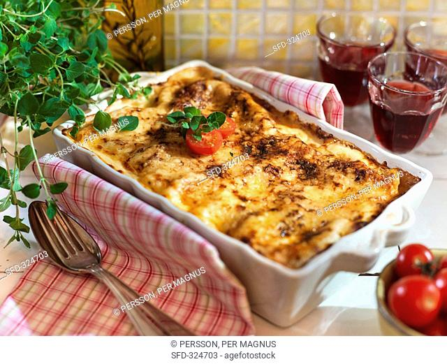 Cannelloni in a baking dish
