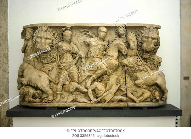 Decorative piece depicting a hunting scene with king on horseback, Capitoline Museum, Rome