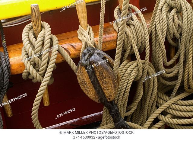 Rigging on tall ship- an old historic sailing ship