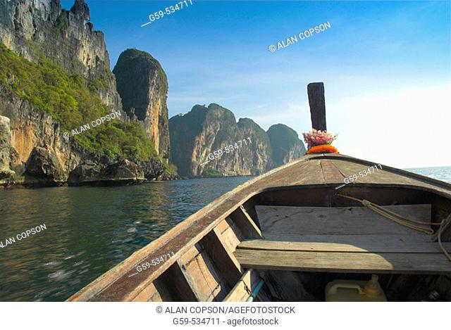 Thailand. Ko Phi Phi Leh. The island featured in the movie 'The Beach'