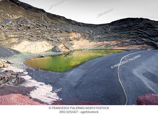 The spectacular contrast of colors of the green lake. El golfo, Lanzarote. Spain