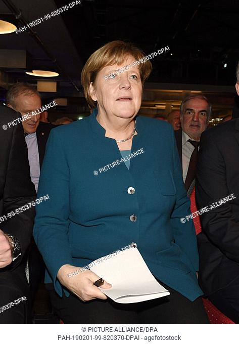 01 February 2019, Mecklenburg-Western Pomerania, Greifswald: Chancellor Angela Merkel (CDU) attends the New Year's reception of the Vorpommern-Greifswald CDU...