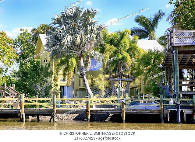 Home on the edge of the mangrove swamp at Everglades City in Florida USA